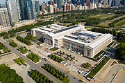 Aerial drone image of the Field Museum and the Chicago Skyline. Photo by Mark Black
