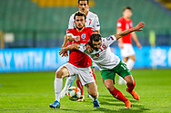 England defender Ben Chilwell tussles with Bulgaria midfielder Galin Ivanov during the UEFA European 2020 Qualifier match between Bulgaria and England at Stadion Vasil Levski, Sofia, Bulgaria on 14 October 2019.