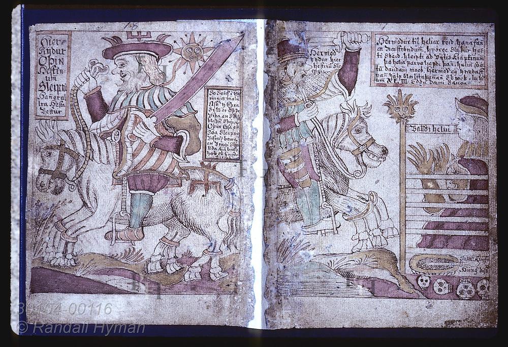 Illustration of Odin atop 8-legged horse in 1700s-copy of Snorra Edda at Arni Magnusson Institute Iceland