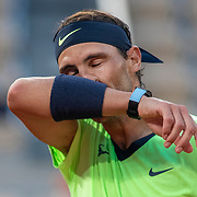 PARIS, FRANCE June 11. Rafael Nadal of Spain reacts during his match against Novak Djokovic of Serbia on Court Philippe-Chatrier during the semi finals of the singles competition at the 2021 French Open Tennis Tournament at Roland Garros on June 11th 2021 in Paris, France. (Photo by Tim Clayton/Corbis via Getty Images)