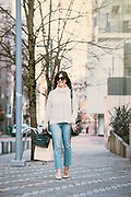 Susie Wright, Portland Fashion Blogger on a wintery day in Portland, Oregon