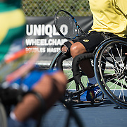 11/3/1611:10:02 AM --- Wheelchair Tennis --- Rafael Medeiros (left) and Daniel Rodrigues (right) compete at the 2016 UNIQLO Wheelchair Doubles Masters tournament at Marguerite Tennis Pavilion in Mission Viejo, CA<br /> <br /> Photo by Brian Rothmuller, Sports Shooter Academy
