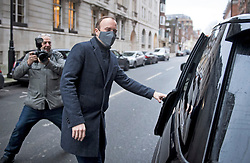 © Licensed to London News Pictures. 04/01/2021. London, UK. Health Secretary MATT HANCOCK leaves Milbank television studios in Westminster on the day the rollout of the Oxford-AstraZeneca vaccine begins. Photo credit: Ben Cawthra/LNP