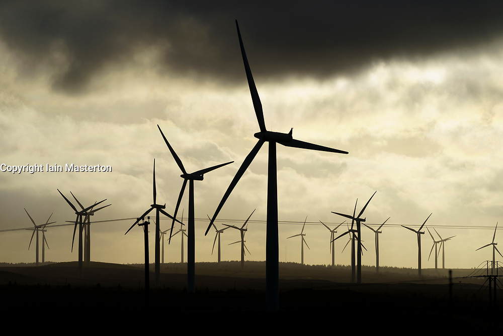 View of wind turbines at sunset at Blacklaw Wind Farm in Scotland, UK