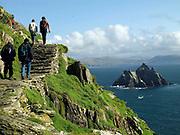 Walkers on Skellig Michael Skellig Rock, County Kerry, Ireland.<br /> Photo: Don MacMonagle