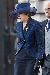 © Licensed to London News Pictures. 23/10/2018. London, UK. British Prime MInister Theresa May attends the ceremonial welcome at Horse Guard Parade for His Majesty King Willem-Alexander of the Netherlands, accompanied by Her Majesty Queen Maxima. Photo credit: Ray Tang/LNP