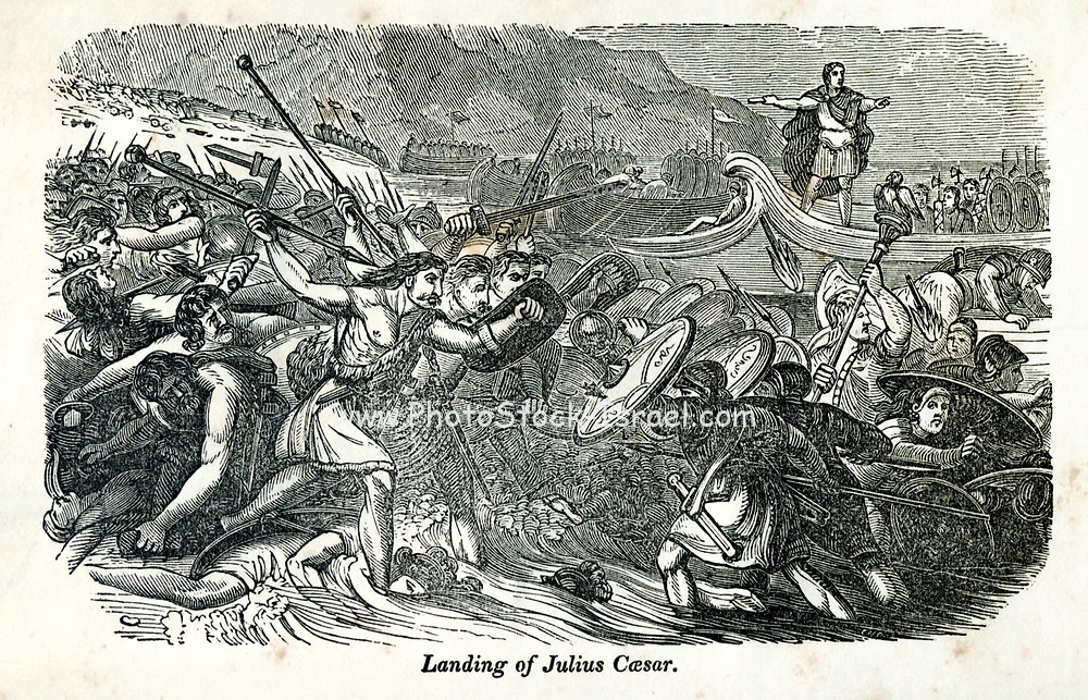 Landing of Julius Caesar from the book History of England : with separate historical sketches of Scotland, Wales, and Ireland; from the invasion of Julius Cæsar until the accession of Queen Victoria to the British throne. By Russell, John, A. M., Published in Philadelphia by Hogan & Thompso in 1844