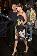 HAILEY BALDWIN Leaves HOTEL GEORGE V PARIS wearing a  Dolce & Gabbana<br /> ©Exclusivepix Media