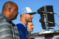 March 20, 2017 - Port Charlotte, Florida, U.S. - WILL VRAGOVIC   |   Times.Tampa Bay Rays center fielder Kevin Kiermaier (39) answers questions during a press conference announcing his six-year, $53.5 million deal with the team at Charlotte Sports Park in Port Charlotte, Fla. on Friday, March 17, 2017. (Credit Image: © Will Vragovic/Tampa Bay Times via ZUMA Wire)