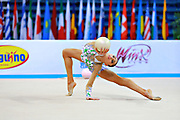 Shafizada Gulsum during qualifying at ball in Pesaro World Cup at Adriatic Arena on April 10, 2015. Gulsum was born in Baku on November 08, 1998. She is a rhythmic gymnast member of the Azerbaijan National Team.