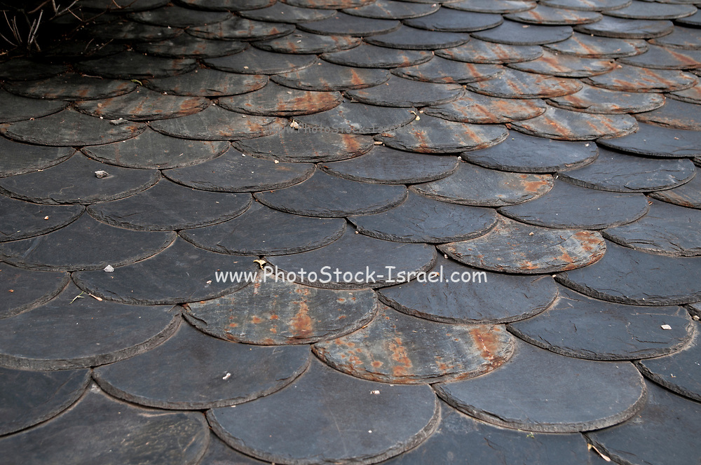 Natural stone shingles used for roofing. Photographed in  Son, Province of Lleida, Catalonia, Spain