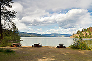 Otter Bay Beach Picnic Tables at Okanagan Lake in Ellison Provincial Park in Vernon, British Columbia, Canada