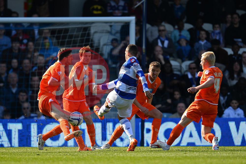 QPR's midfielder Ravel Morrison takes a shot at goal - Photo mandatory by-line: Mitchell Gunn/JMP - Tel: Mobile: 07966 386802 29/03/2014 - SPORT - FOOTBALL - Loftus Road - London - Queens Park Rangers v Blackpool - Championship
