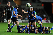 Leinster's Isaac Boss © passes the ball to his backs. Heineken cup rugby, pool 1 match, Ospreys v Leinster rugby at the Liberty stadium in Swansea on Sat 12th October 2013 pic by Andrew Orchard, Andrew Orchard sports photography,