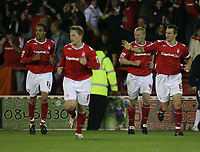 Photo: Rich Eaton.<br /> <br /> Nottingham Forest v Yeovil Town. Coca Cola League 1. Play off Semi Final 2nd Leg. 18/05/2007. Forests Gary Holt right #4 is congratulated after his extra time goal to make the score 4 - 2