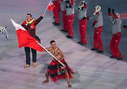 Tonga flag-bearer Pita Taufatofua during the Opening Ceremony of the PyeongChang 2018 Winter Olympic Games at the PyeongChang Olympic Stadium in South Korea.