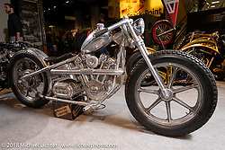 Enrico (Ricky) de Haas' 52V Brushless Hub Motor in an entirely handcrafted Knucklehead looking package in the AMD World Championship of Custom Bike Building in the Intermot Customized hall during the Intermot International Motorcycle Fair. Cologne, Germany. Friday October 5, 2018. Photography ©2018 Michael Lichter.