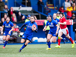 Sara Barattin of Italy makes a break<br /> <br /> Photographer Simon King/Replay Images<br /> <br /> Six Nations Round 1 - Wales Women v Italy Women - Saturday 2nd February 2020 - Cardiff Arms Park - Cardiff<br /> <br /> World Copyright © Replay Images . All rights reserved. info@replayimages.co.uk - http://replayimages.co.uk