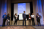 Purchase, NY – 31 October 2014. The team from Yonkers Montessori Academy giving their presentation. (Left to right: Amir Osmanovic, Pamela Guerrero, Samantha Valenti,Edward Ortiz, Naira Luke-Aleman, Tynea Garcia, Chinnu Thomas.) The Business Skills Olympics was founded by the African American Men of Westchester, is sponsored and facilitated by Morgan Stanley, and is open to high school teams in Westchester County.