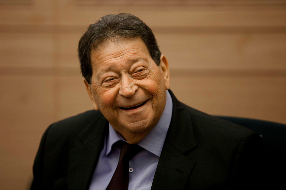 Israeli lawmaker, Knesset Member Binyamin (Fouad) Ben-Eliezer attends a session of the Foreign Affairs and Defense Committee at the Knesset, Israel's parliament in Jerusalem, on February 27, 2012.