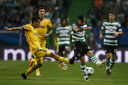 October 31, 2017 - Lisbon, Portugal - Juventus's forward Paulo Dybala (L) vies for the ball with Sporting's midfielder Bruno Fernandes (R)  during Champions League 2017/18 match between Sporting CP vs Juventus FC, in Lisbon, on October 31, 2017. (Credit Image: © Carlos Palma/NurPhoto via ZUMA Press)