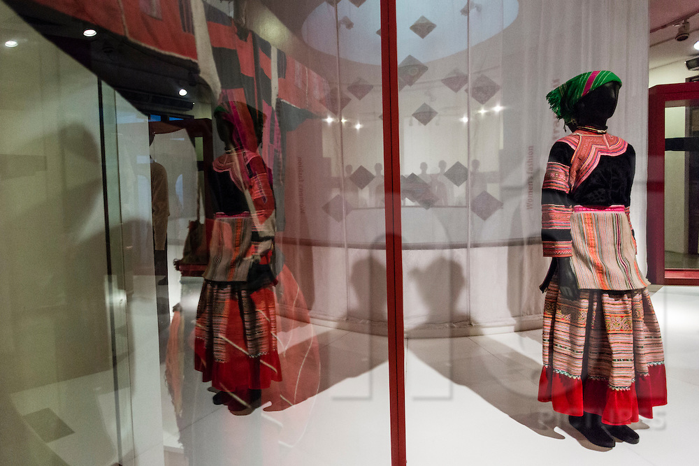 Traditional ethnic outfit displayed in the Vietnamese Women's Museum, Hanoi, Vietnam, Southeast Asia
