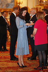 The Duchess of Cambridge and Prince Harry attend a reception on World Mental Health Day at Buckingham Palace, London, to celebrate the contribution of those working in the mental health sector across the UK.
