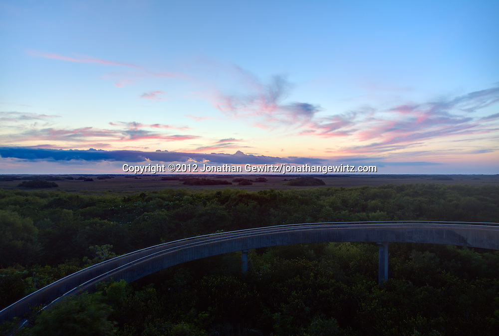 The western sky and landscape as seen shortly after sunset from the observation tower in the Shark Valley section of Everglades National Park, Florida. WATERMARKS WILL NOT APPEAR ON PRINTS OR LICENSED IMAGES.