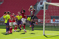 Bristol City's goalkeeper Daniel Bentley (1) claims the high ball during the EFL Cup match between Bristol City and Exeter City at Ashton Gate, Bristol, England on 5 September 2020.