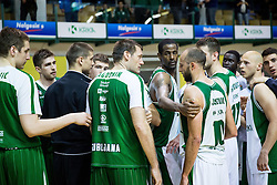 Goran Jagodnik of Union Olimpija and Nebojsa Joksimovic of Krka after the basketball match between KK Krka and KK Union Olimpija in Round #7 of Telemach League for Slovenian National Champion 2014/15 on April 18, 2015 in Dvorana Leona Stuklja, Novo mesto, Slovenia. Photo by Vid Ponikvar / Sportida