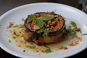 A serving of meet and aubergine moussaka