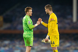 LIVERPOOL, ENGLAND - Monday, March 1, 2021: Everton's goalkeeper Jordan Pickford (L) and Southampton's goalkeeper Fraser Forster after the FA Premier League match between Everton FC and Southampton FC at Goodison Park. Everton won 1-0. (Pic by David Rawcliffe/Propaganda)