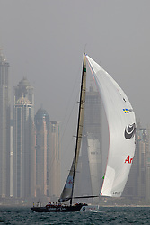 Artemis Racing (SWE) versus BMW Oracle Racing (USA), RR1. BMW Oracle Racing wins both matches. Dubai, United Arab Emirates, November 15th 2010. Louis Vuitton Trophy  Dubai (12 - 27 November 2010)  Sander van der Borch / Artemis Racing