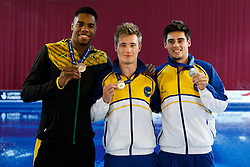 Mens 3m Springboard Final top 3, (L-R) Bronze Medallist Yona Knight-Wisdom of Jamaica (Guest) , Gold Medallist Jack Laugher and Silver Medallist  Chris Mears both of City of Leeds Dive Club - Photo mandatory by-line: Rogan Thomson/JMP - 07966 386802 - 21/02/2015 - SPORT - DIVING - Plymouth Life Centre, England - Day 2 - British Gas Diving Championships 2015.
