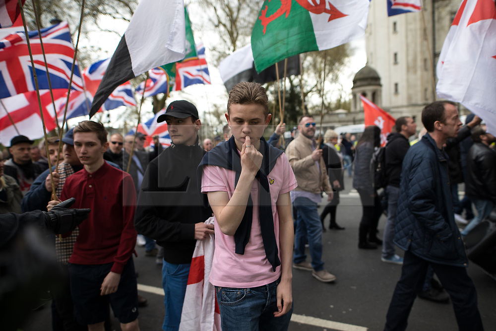 © Licensed to London News Pictures . 01/04/2017 . London , UK . Britain First supporters . The EDL and Britain First both hold demonstrations in London , opposed by anti-fascist groups , including Unite Against Fascism . Photo credit : Joel Goodman/LNP