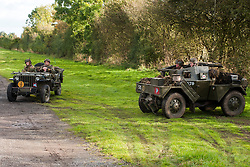 "Reenactors portraying the 6th Airorne Division, in a  Willys Jeep and a Daimler Scout Car ""Dingo"" at the Pickering Showground Day 2<br />