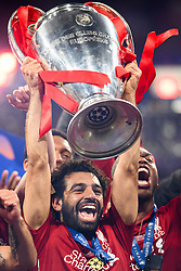June 2, 2019 - Madrid, Spain - 190602 Mohamed Salah of Liverpool celebrate with the trophy after the UEFA Champions League final between Tottenham and Liverpool on June 2, 2019 in Madrid..Photo: Petter Arvidson / BILDBYRÃ…N / kod PA / 92302 (Credit Image: © Petter Arvidson/Bildbyran via ZUMA Press)