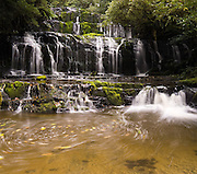 Purakaunui Falls, in the Catlins District, South Island, New Zealand. Panorama stitched from 2 overlapping images.