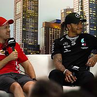 12.03.2020, Albert-Park, Melbourne, FORMULA 1 ROLEX AUSTRALIAN GRAND PRIX 2020<br /> , im Bild<br />FIA Pressekonferenz mit, Sebastian Vettel (GER#5), Scuderia Ferrari Mission Winnow Lewis Hamilton (GB#44), Mercedes-AMG Petronas Motorsport,neuer Schmuck an beiden Händen.<br /> <br /> Foto © nordphoto / Bratic