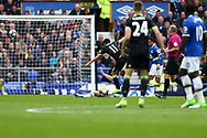 Pedro of Chelsea (11) shoots and scores his teams 1st goal. Premier league match, Everton v Chelsea at Goodison Park in Liverpool, Merseyside on Sunday 30th April 2017.<br /> pic by Chris Stading, Andrew Orchard sports photography.
