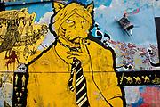 Egypt, Cairo 2014. Qasr el-Nil street grafitti of boy with tiger's head smoking a cigarette