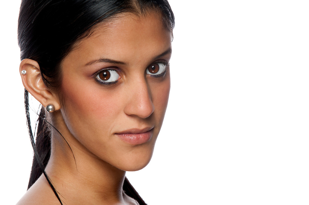 Portrait of beautiful hispanic woman with copyspace at right.