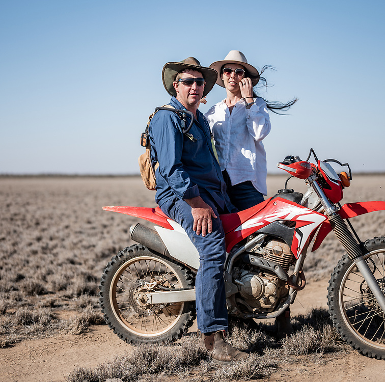 Owners of Wooleen Station, David and Frances Pollock on their property in the South Murchison area of Western Australia