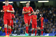 GOAL / CELE - Dejan Lovren of Liverpool celebrates towards the Liverpool  fans after scoring his teams 1st goal from a corner to make it 0-1. Premier league match, Chelsea v Liverpool at Stamford Bridge in London on Friday 16th September 2016.<br /> pic by John Patrick Fletcher, Andrew Orchard sports photography.