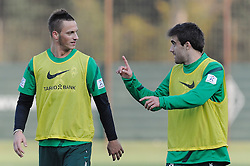 24.10.2011, Trainingsgelaende, Bremen, GER, 1.FBL, Training Werder Bremen, im Bild Marko Arnautovic (Bremen #7), Sokratis (Bremen #22)..// during training session of Werder Bremen on 2011/10/24, Trainingsgelaende, Bremen, Germany..EXPA Pictures © 2011, PhotoCredit: EXPA/ nph/  Frisch       ****** out of GER / CRO  / BEL ******