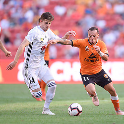 BRISBANE, AUSTRALIA - OCTOBER 28:  during the Round 2 Hyundai A-League match between Brisbane Roar FC and Wellington Phoenix on October 28, 2018 in Brisbane, Australia. (Photo by Brisbane Roar FC / Patrick Kearney)