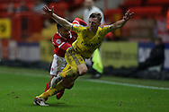 Tareiq Holmes-Dennis of Charlton Athletic pulls back/fouls Ben Osborn of Nottingham Forest and is sent off.  Skybet football league championship match, Charlton Athletic v Nottingham Forest at The Valley  in London on Saturday 2nd January 2016.<br /> pic by John Patrick Fletcher, Andrew Orchard sports photography.