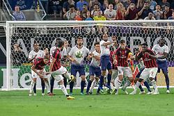 July 31, 2018 - Minneapolis, Minnesota, U.S - Tottenham defenders form a wall to stop a HAKA CALHANOGLU free kick from just outside the box. (Credit Image: © Keith R. Crowley via ZUMA Wire)