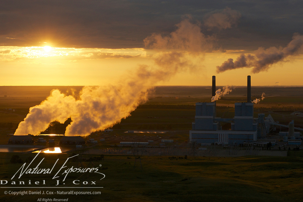 A coal fired power in the early morning light on the North Dakota plains.