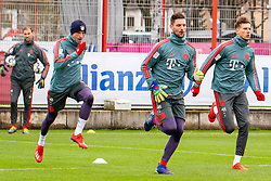 14.03.2019, Säbener Strasse, Muenchen, GER, 1. FBL, FC Bayern Muenchen vs 1. FSV Mainz 05, Training, im Bild v.l. Thomas Müller (FC Bayern), Sven Ulreich (FC Bayern), Leon Goretzka (FC Bayern) // during a trainings session before the German Bundesliga 26th round match between FC Bayern Muenchen and 1. FSV Mainz 05 at the Säbener Strasse in Muenchen, Germany on 2019/03/14. EXPA Pictures © 2019, PhotoCredit: EXPA/ Lukas Huter